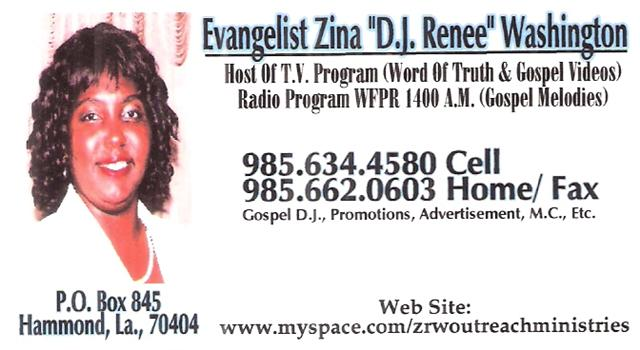 Cltt zrw productions llc all types of business promotions evangelist zina d j renee washington james cox production llc business card reheart Images